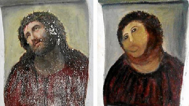 Photo of original and ruined Ecce Homo painting