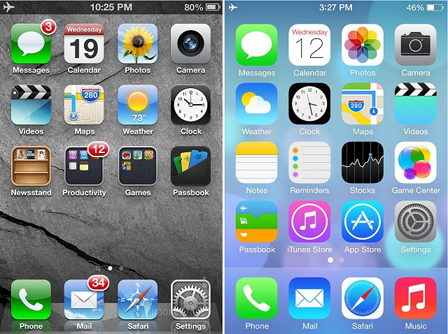 iOS6 and iOS7 Home Screens